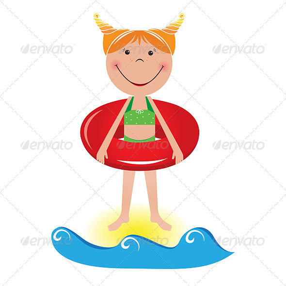 Graphic River Cartoon little girl with a lifeline Vectors -  Characters 2335668
