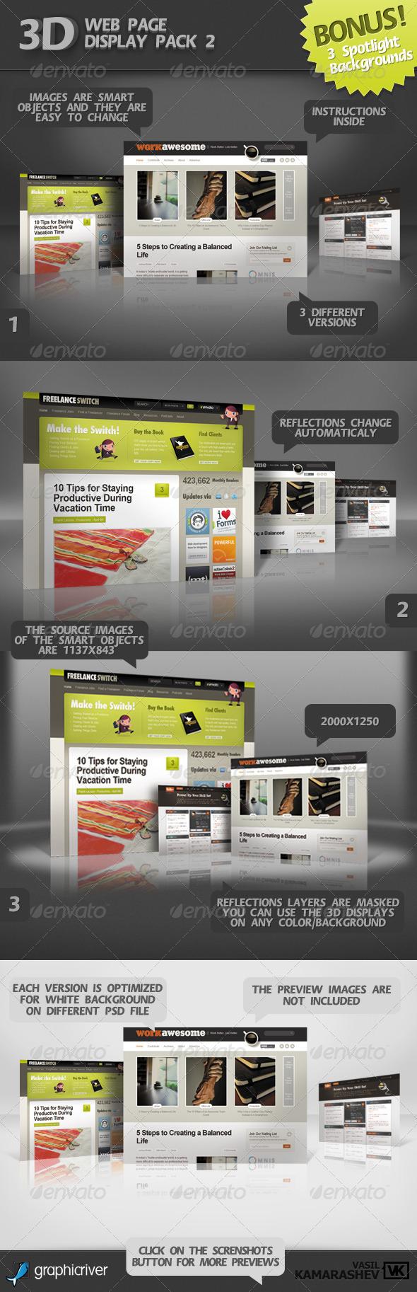 GraphicRiver 3D Web Page Display Pack 2 &BONUS 3 Spotlight BGs 264308