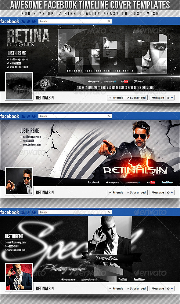 GraphicRiver Facebook Timeline Covers 3in1 2320757
