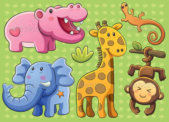 Graphic River Cute Animals Collection Vectors -  Characters  Animals 2338481