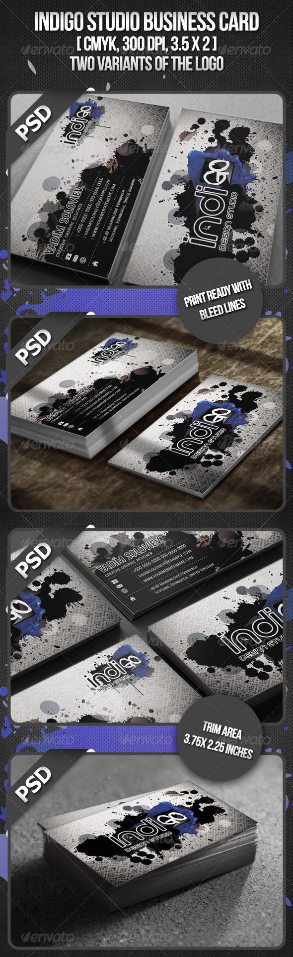 GraphicRiver Indigo Studio Business card 516874