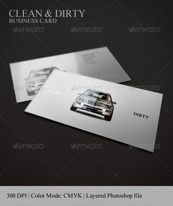 GraphicRiver Clean & Dirty Business Card Car Polish 265011
