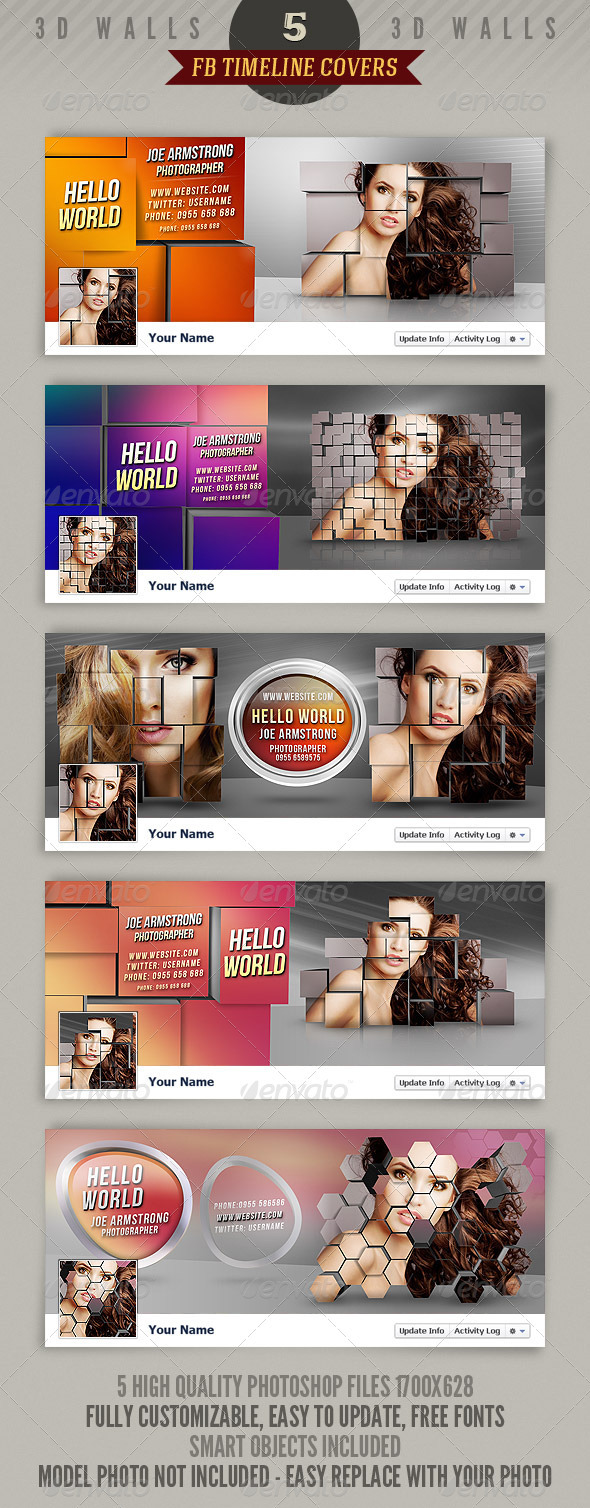 GraphicRiver 5 Facebook Timeline Covers 3D Walls 2352219