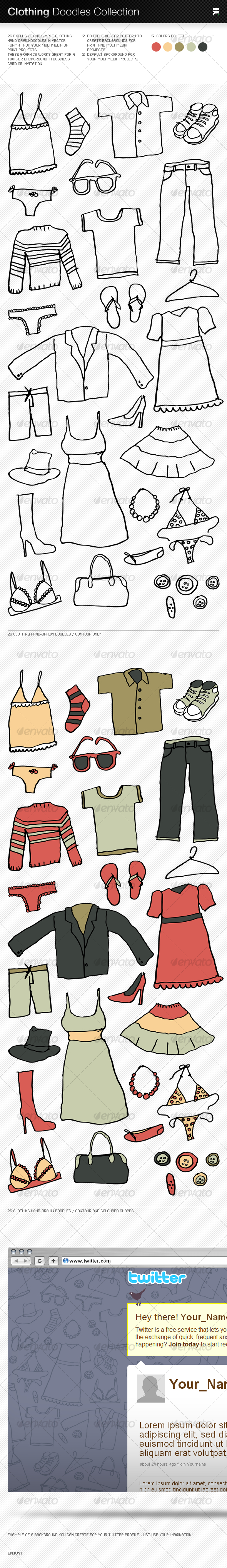 GraphicRiver Clothing Doodles Collection 86453
