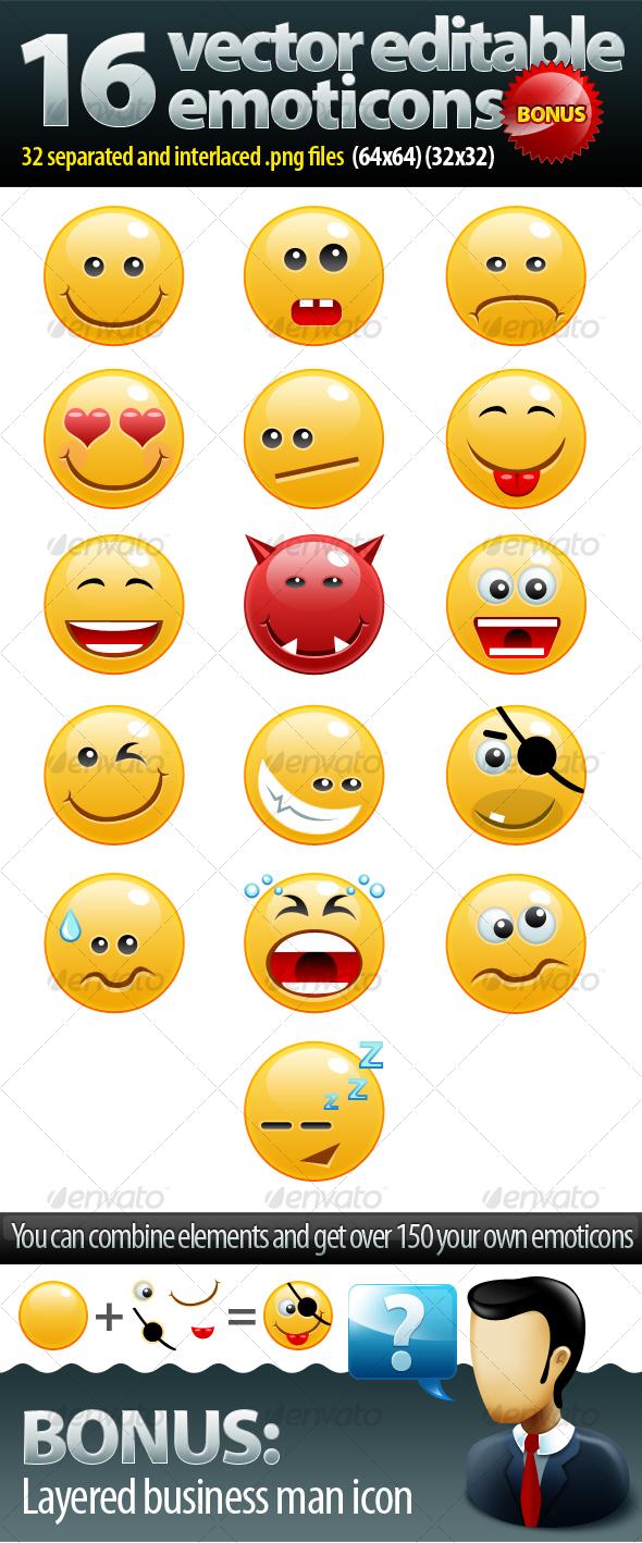GraphicRiver 16 non rasterized emoticons pack & bonus 86825