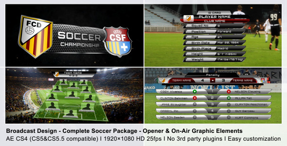 VideoHive Broadcast Design Complete On-Air Soccer Package 2368743