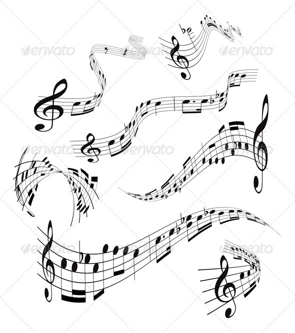 GraphicRiver Set of musical notes staff 2372433