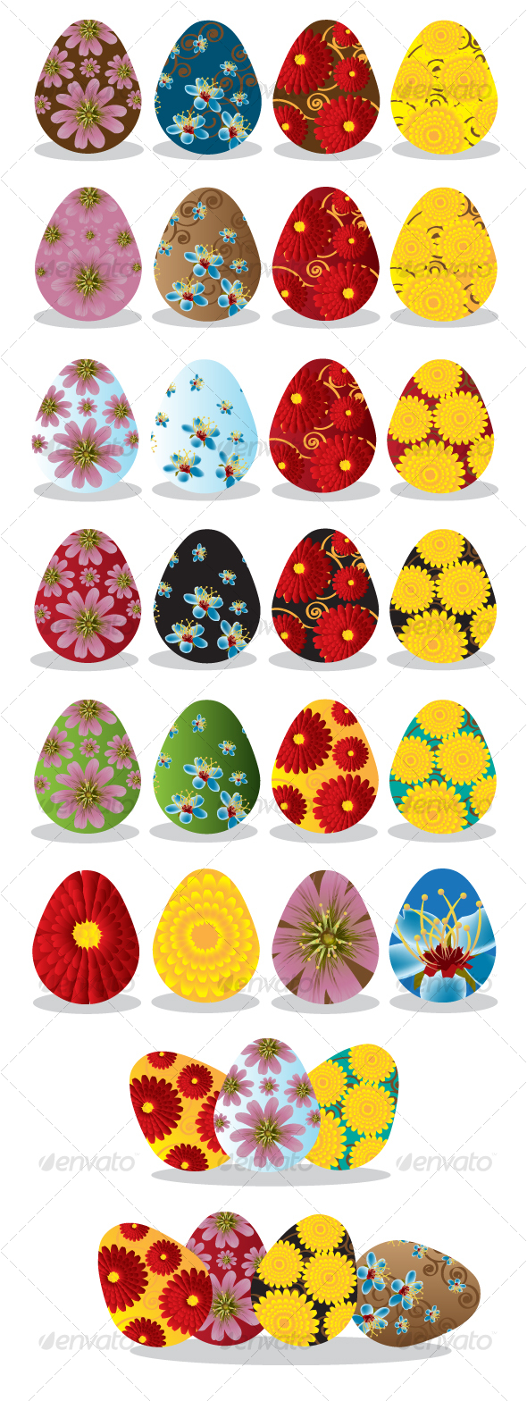 GraphicRiver Floral Easter Eggs 87712