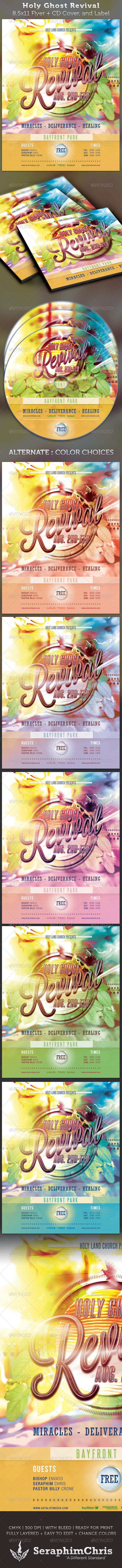 GraphicRiver Holy Ghost Revival Full Page Flyer and CD Cover 2378687