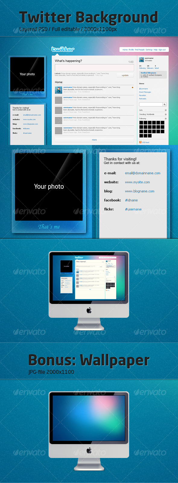 GraphicRiver Twitter background Blue Crystal 87998