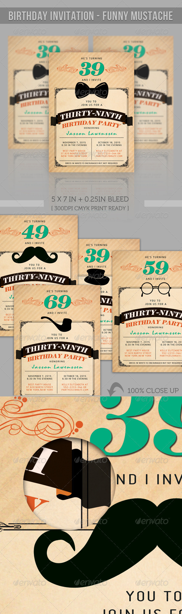GraphicRiver Birthday Greeting Card Funny Mustache 2386064