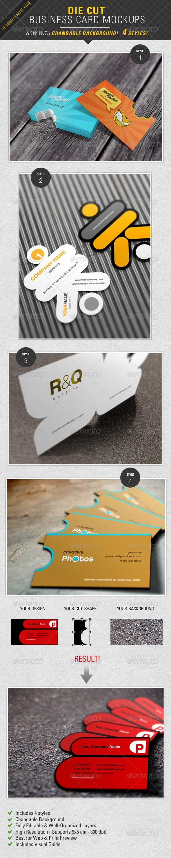 GraphicRiver Die Cut Business Card Mockup 2372236