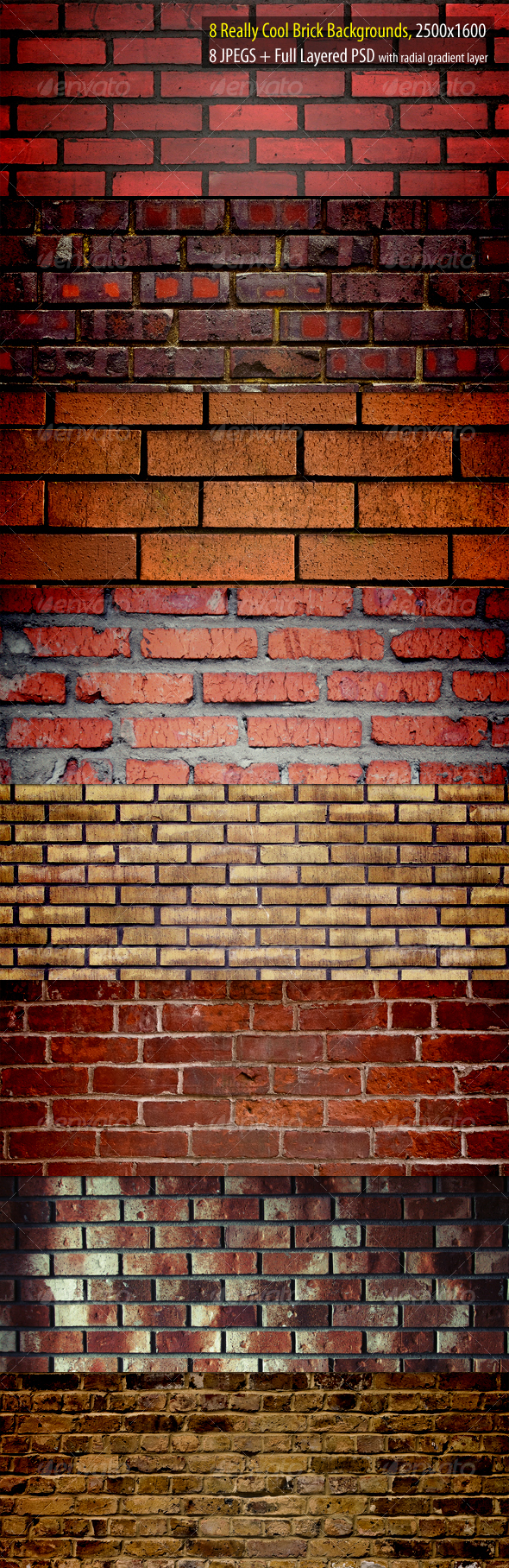 GraphicRiver Really Cool Brick Backgrounds Pack 88168