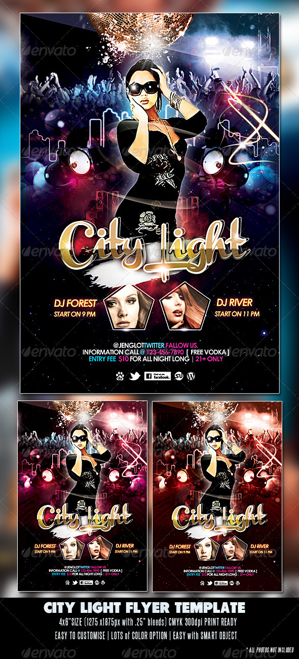 GraphicRiver City Light Party Flyer 2393353