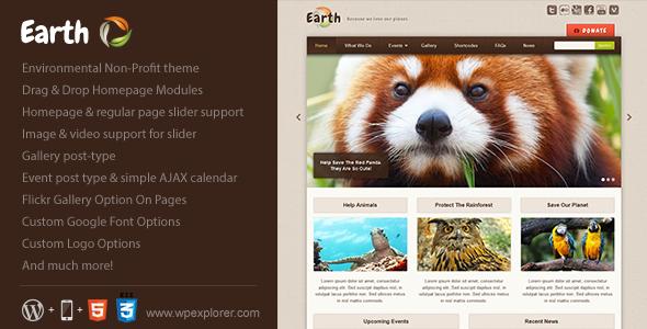 ThemeForest Earth Eco Environmental NonProfit WordPress Theme 2405294