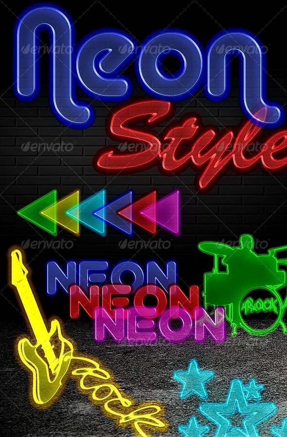 GraphicRiver Neon Styles 6 colors 88634