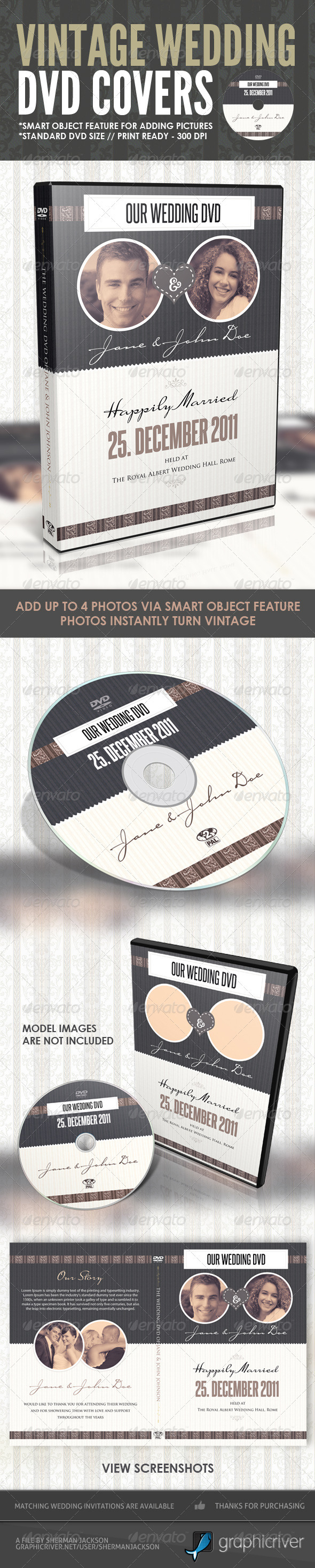 GraphicRiver Vintage Wedding DVD Covers & Disc Label 1031303