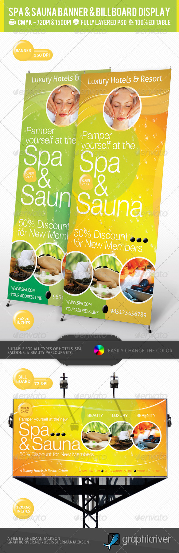 GraphicRiver Spa & Sauna Multipurpose Banner & Billboard PSD 2403323