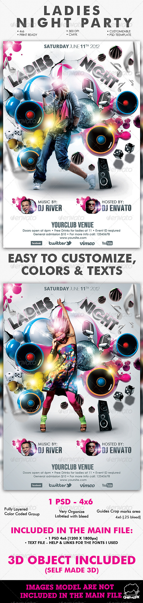 GraphicRiver Ladies Night Party Flyer Template 2405940