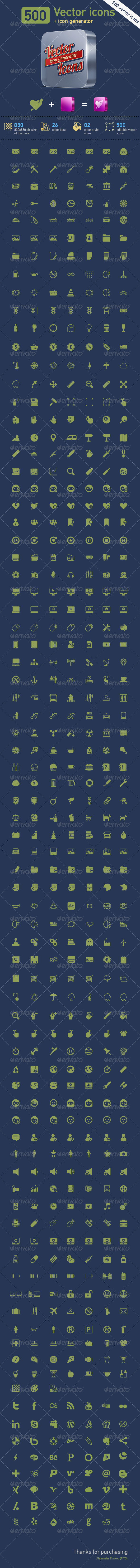 GraphicRiver 500 Vector Icons & Icon Generator 2405037