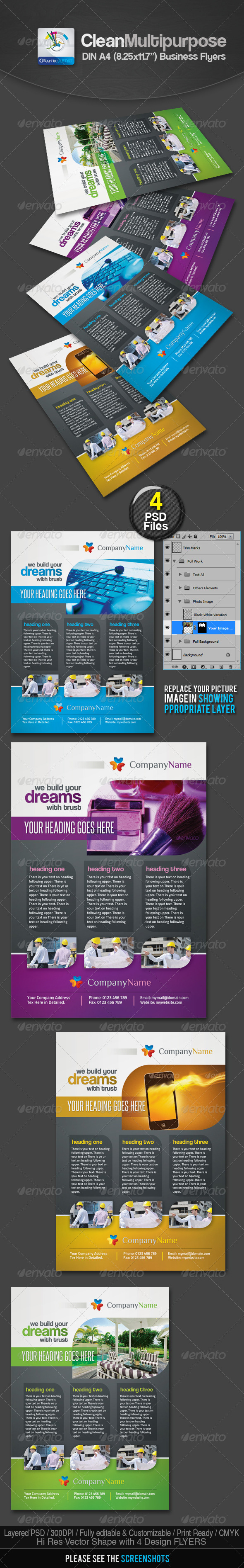 GraphicRiver Clean Multipurpose Business Flyers Ads 2419628