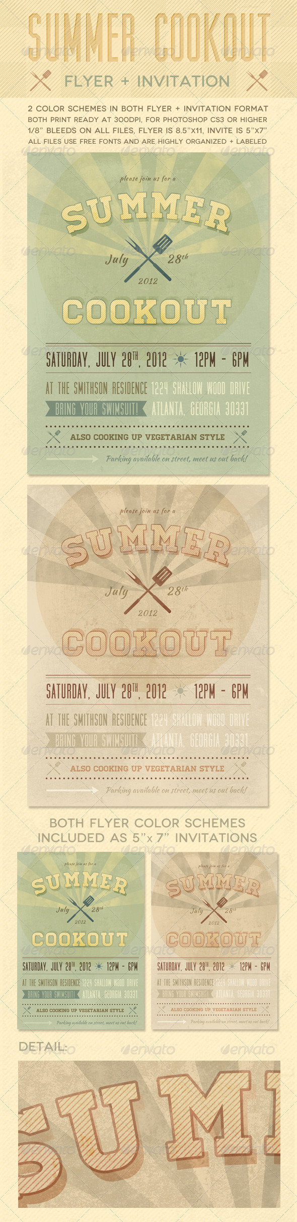 GraphicRiver Summer Cookout Flyer & Invite 2421704