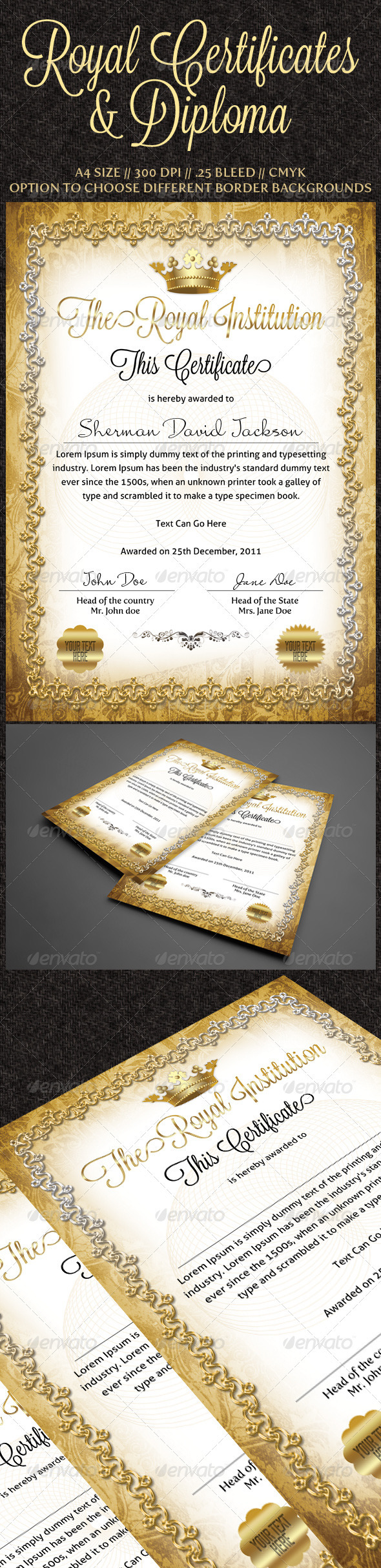 Graphic River Royal Certificates Print Templates -  Stationery  Certificates 886015
