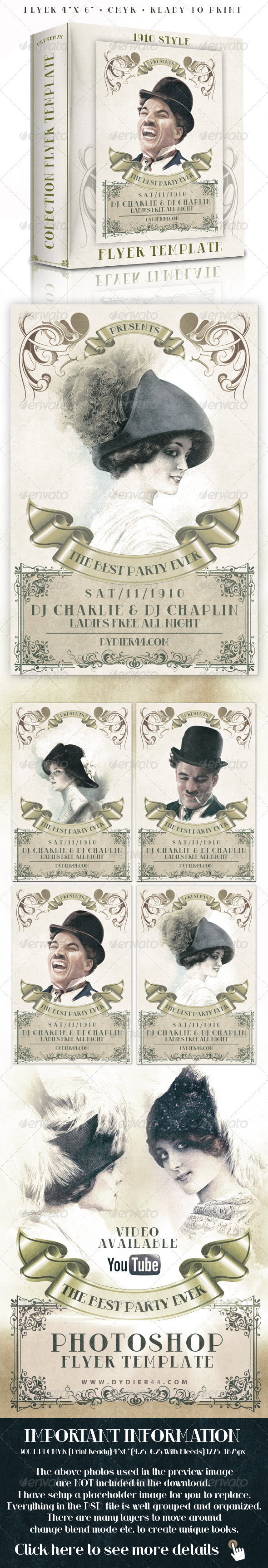 GraphicRiver 1910 Classic Style 4x6 Flyer Template 272712