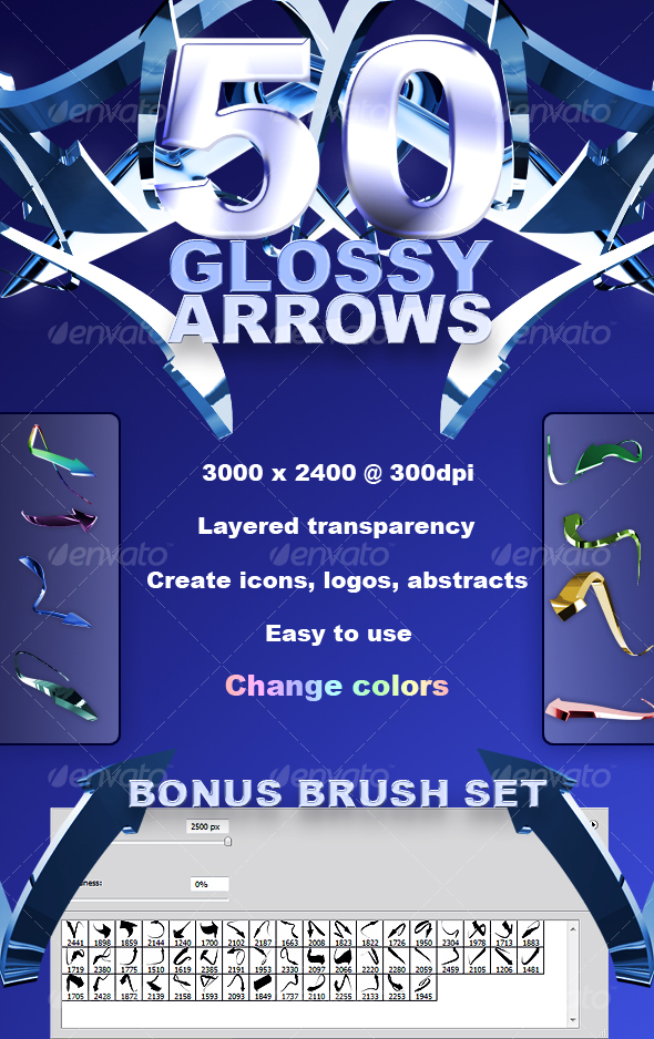 GraphicRiver 50 High Res Glossy Arrows 89118