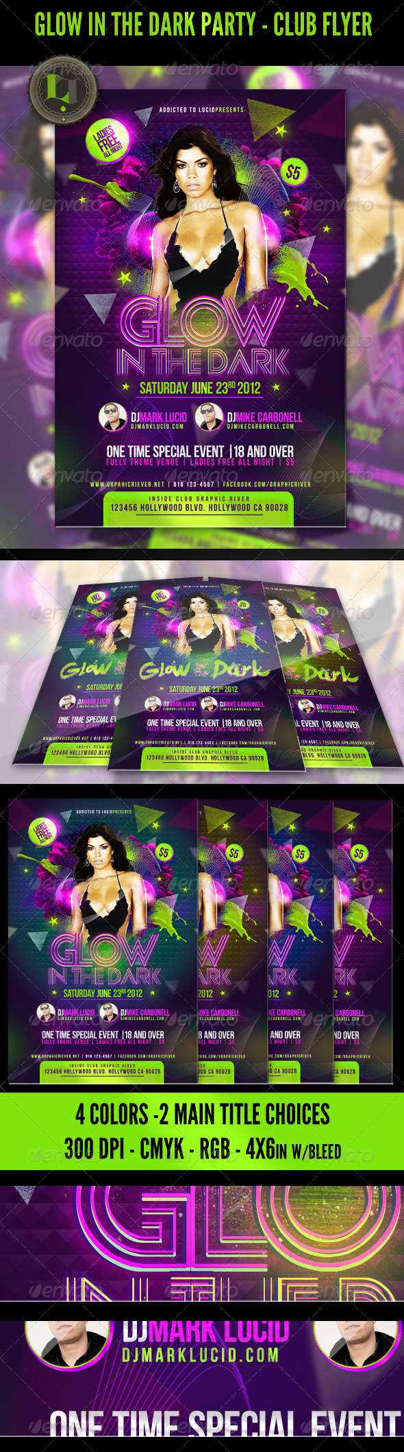 GraphicRiver Glow in the Dark Party Club Flyer 2429253