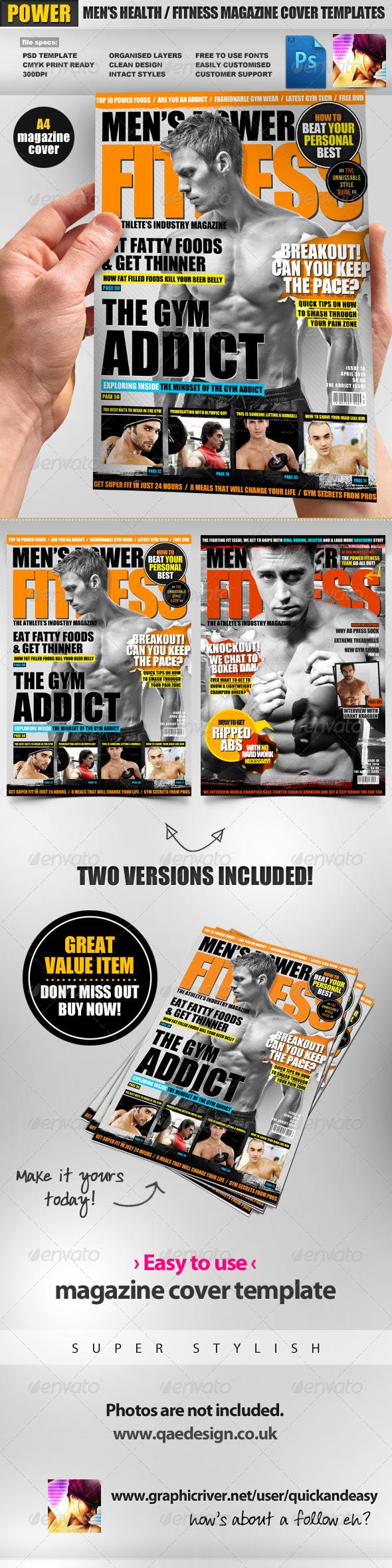 GraphicRiver Men s Power Fitness Magazine Cover Template 2430797