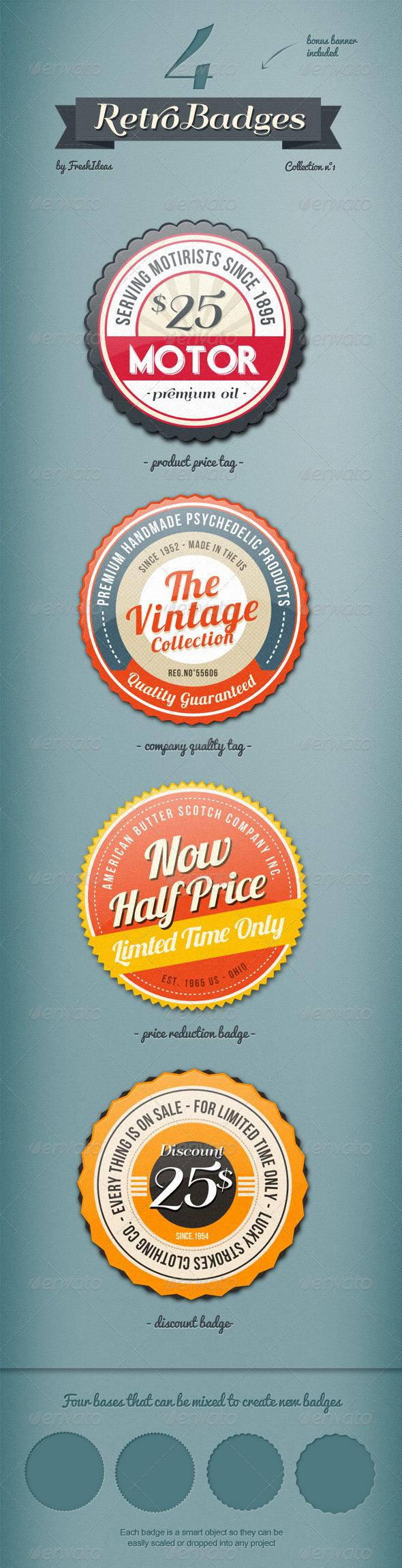 GraphicRiver 4 Vintage Badges 2432270