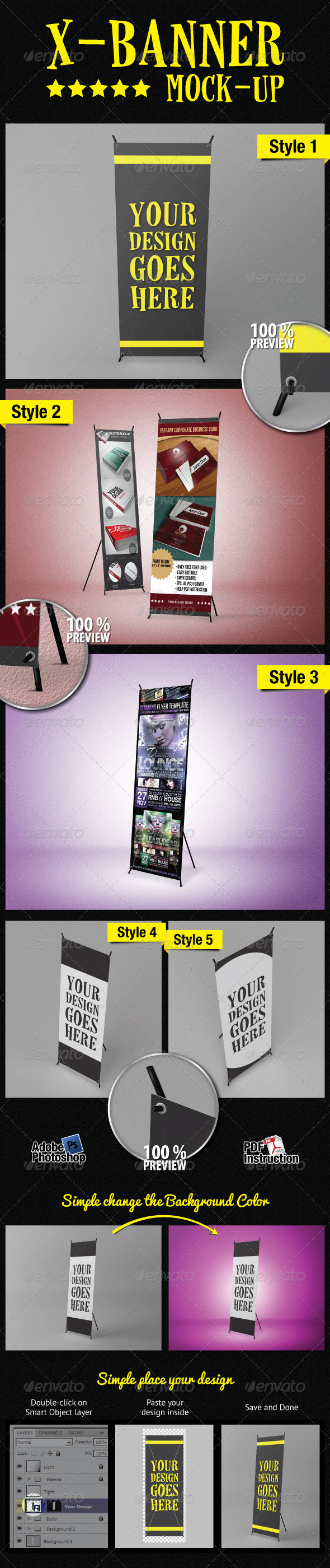 GraphicRiver Standing X-Banner Mockup 2435170