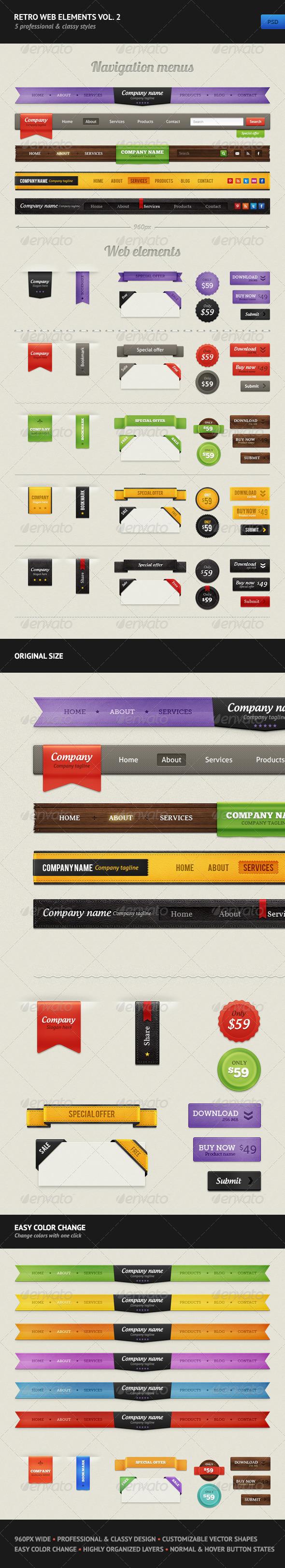 GraphicRiver Retro Web Elements Vol 2 2437172