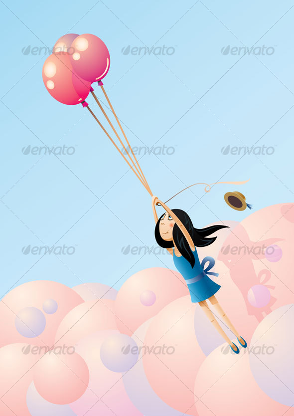 GraphicRiver Balloon-Flying Girl 84855