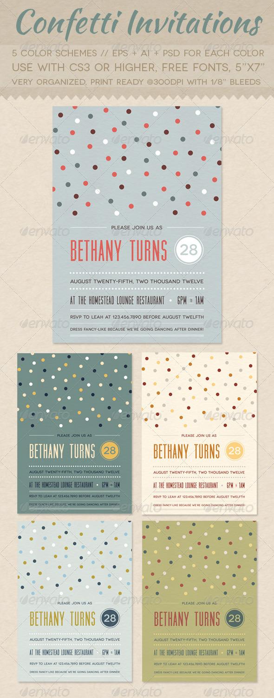 GraphicRiver Confetti Invitations 2447982