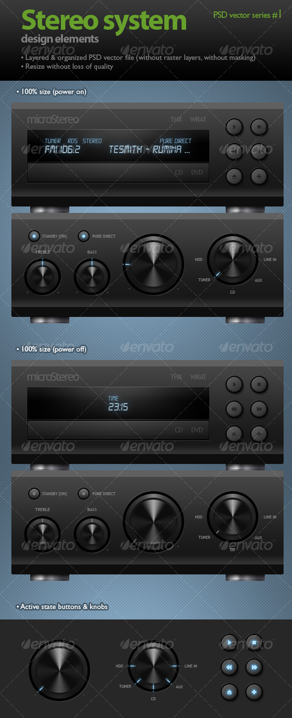 GraphicRiver Stereo system black knobs & buttons 89924