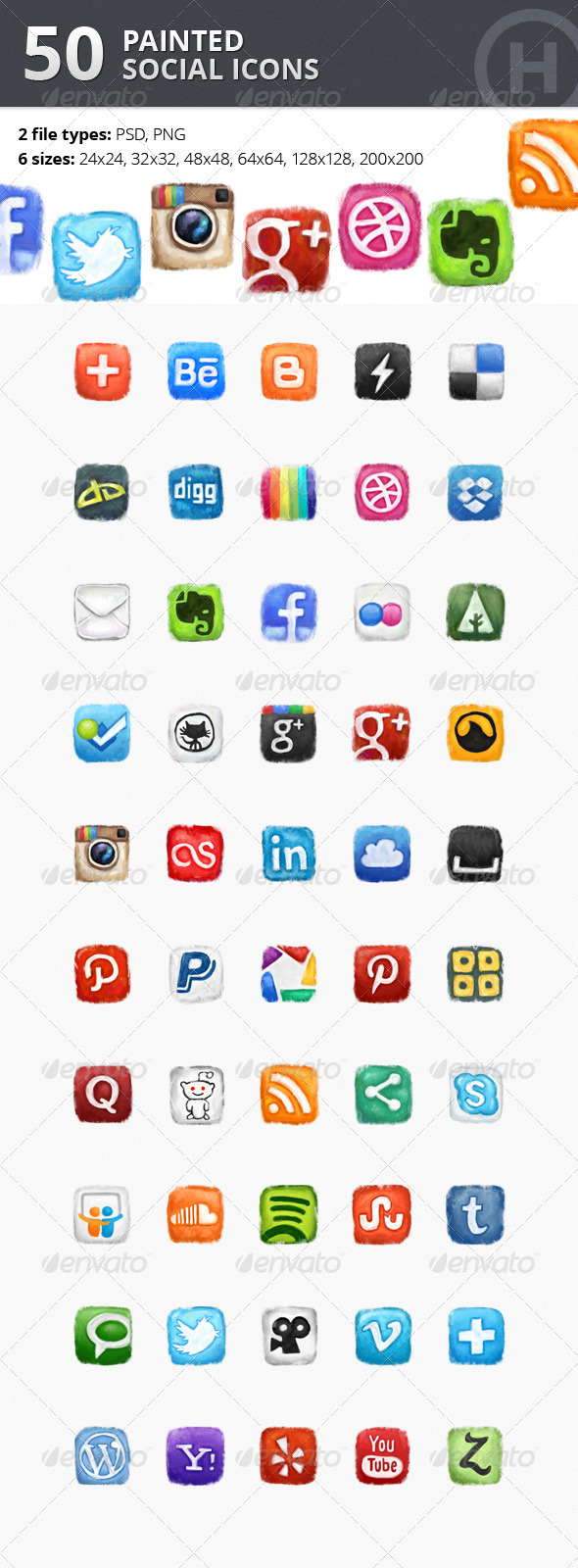 GraphicRiver 50 Painted Social Icons 2458317