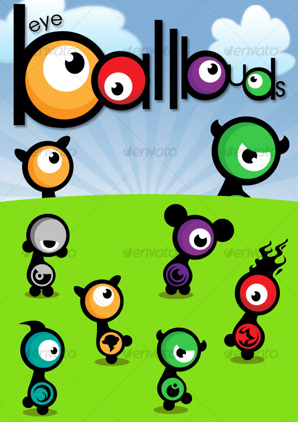 GraphicRiver Eyeball Buds Vector Characters 90121