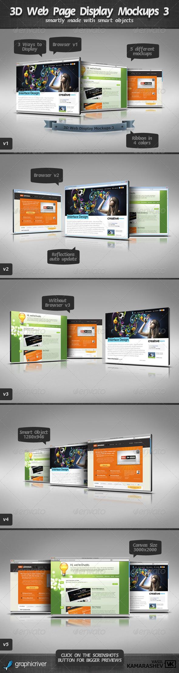 GraphicRiver 3D Web Page Display Mockups 3 2444115