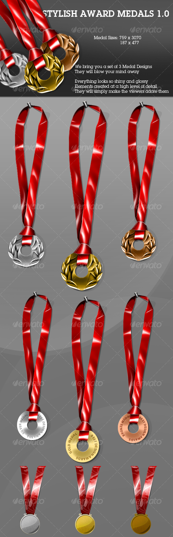 GraphicRiver Stylish Award Medals 1.0 90477