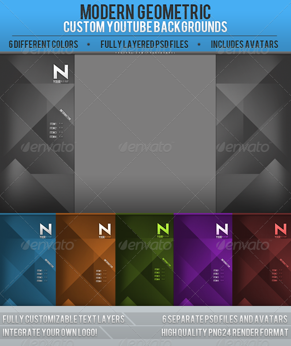 GraphicRiver Geometric YouTube Channel backgrounds 2472795