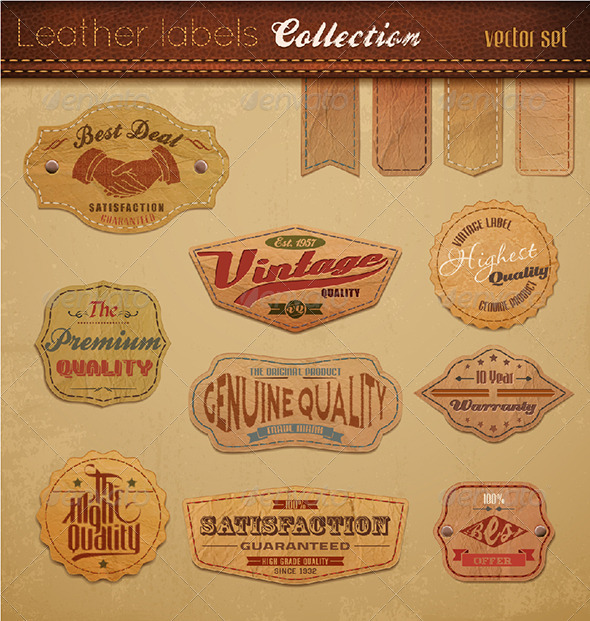 GraphicRiver Leather Labels Collection Vector Illustration 2470256