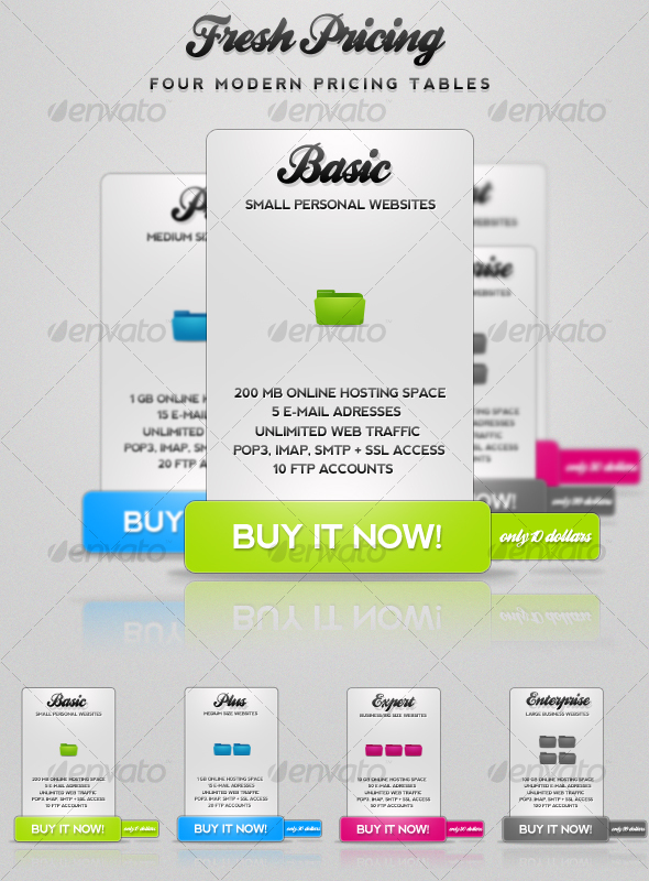 Graphic River Fresh Pricing Modern Pricing Tables Web Elements - 90800