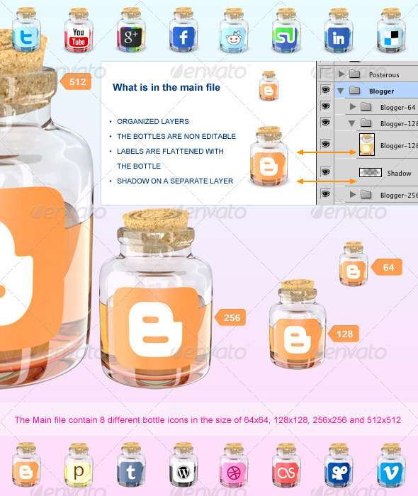 GraphicRiver Bottle Social Media Icons 502841