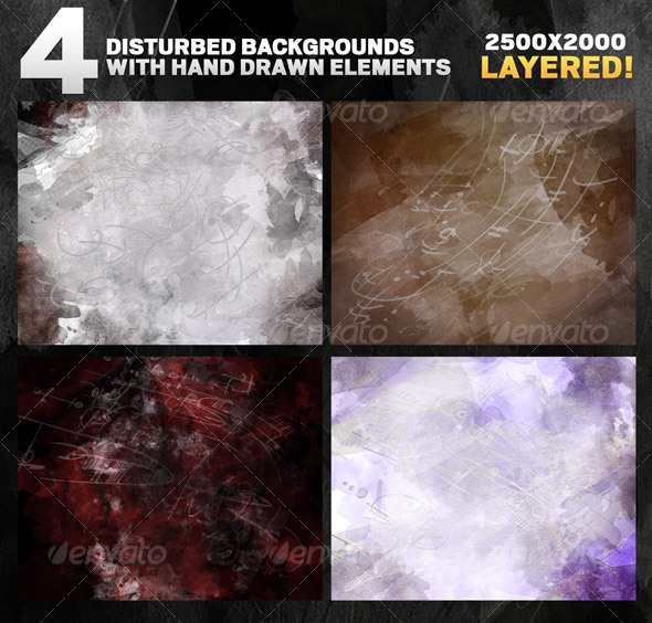 GraphicRiver 4 Disturbed backgrounds with hand drawn elements 90891