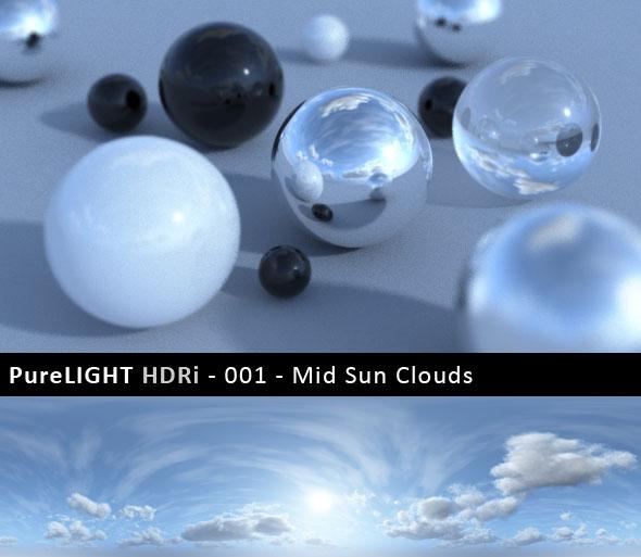 3DOcean PureLIGHT HDRi 001 Mid Sun Clouds 90963