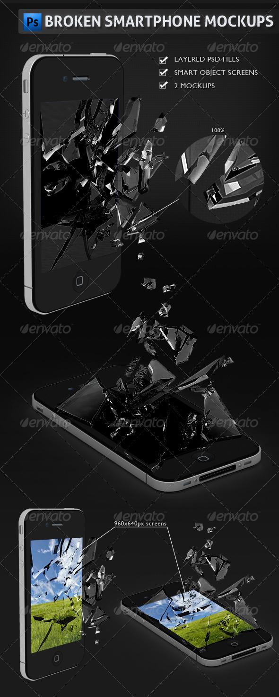 GraphicRiver Broken Smartphone Mockups 2486754