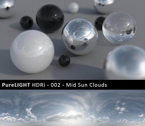 3DOcean PureLIGHT HDRi 002 Mid Sun Clouds 91052