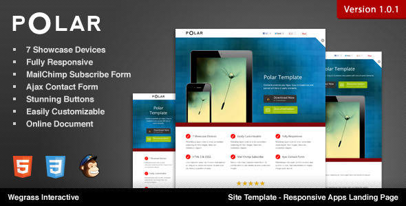 ThemeForest Polar Responsive Apps Landing Page Marketing Landing Pages Technology Software 2473369